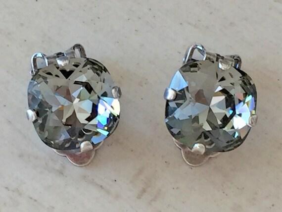 Black Diamond Crystal Clip On Earrings, Antique Silver
