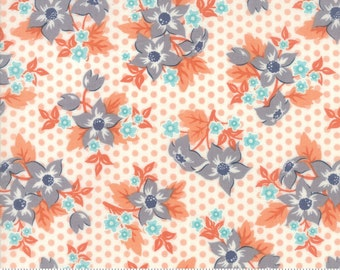 SALE!! 1 Yard Sweet Marion by April Rosenthal for Moda 24040-25 Floral Dotty Garden Peach Cloud