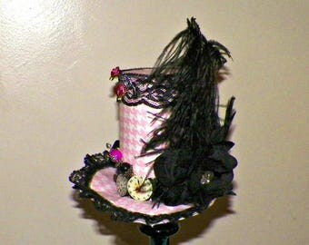 Black Pink Mini Top Hat Fascinator  Gothic Cosplay Costume Steampunk  Bridal Altered Art  Tea Party