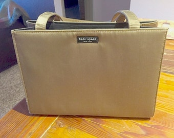 Vintage Kate Spade Nylon Twill Handbag Authentic Pre-1996 Label Gleaming Antique Bronze Green Blk Lining Magnetic Clasp Clean Neat XLNT cond