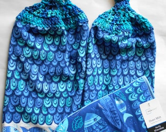 Set of 2 Blue Fish Design Hanging Kitchen Towels with Crocheted Tops and Matching Oven Mitt