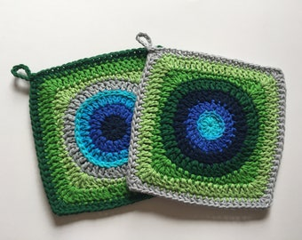 Set of 2 • Green and Blue Handmade Square Potholders made of Cotton