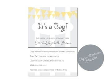 Gray and Yellow Baby Shower Invitation