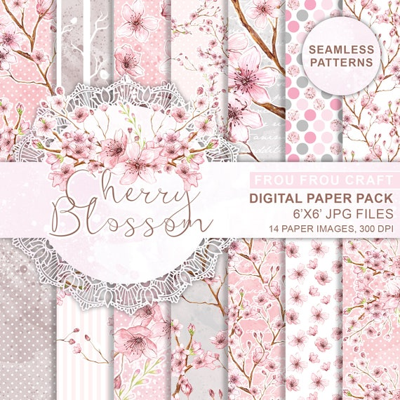Cherry Blossom Digital Paper Pack Instant Download Spring Watercolor Flowers Polka Dots Pink Original Romantic Wedding