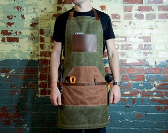 Leather and Canvas Apron, Waxed Canvas Apron, Work Apron