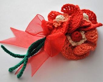 Crochet poppy flower brooch,Handmade jewelry,Spring poppy corsage,Spring accessories,Best Spring gift,Spring bohemian style,Fiber jewelry #