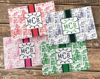 Monogrammed/Personalized Chinosoire Flat Notecards