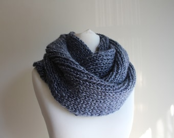 Hand knitted infinity scarf, men infinity scarf
