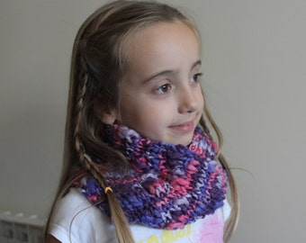 Children hand knitted scarf multicolor