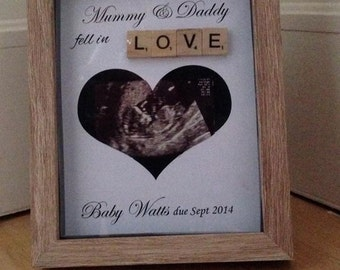Baby Scan Ultrasound Keepsake Memory Frame Mum to Be Pregnancy gift for scan pitures and baby shower presents