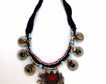 "23"" Belly Dance Kuchi Tribal Ethnic Coin Choker Vintage Crescent Moon Pendant"