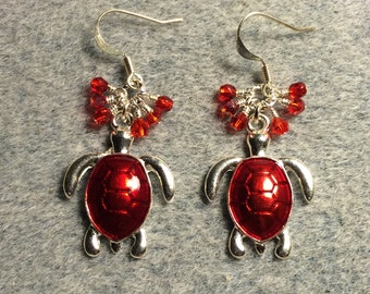 Bright red enamel turtle charm dangle earrings adorned with tiny dangling red Czech glass beads.