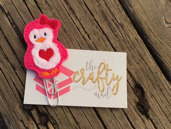 Valentine pink penguin Clip/Planner Clip/Bookmark. Valentine's planner clips