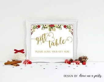 Red and Gold Baby Shower , Gift Table Sign , Holiday Shower Sign , Christmas Baby Shower Decoration , Baby Shower Table Sign , Printable