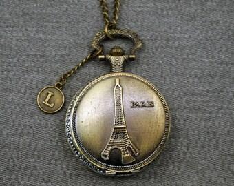 Paris Eiffel Tower Pocket Watch Antique Bronze Big Tour Eiffel Watch Fob Large Round LPCD Mens Pocket Watch Pendant 46mm -for gifts -P670