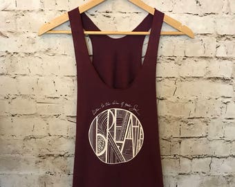 BREATHE...listen to the voice of your soul. Racerback style tank top. Hand printed and hand drawn artwork-