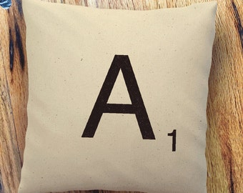 "Scrabble Piece Pillow Cover | Natural 100% Cotton Canvas or Lined Burlap | 12""x12"" 16""x16"" 20""x20"" 