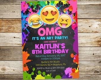 Emoji Art Birthday Party Invitation - Emoji Painting Birthday Party Invitation OMG Birthday Party Invitation - Girl Birthday Party Invite