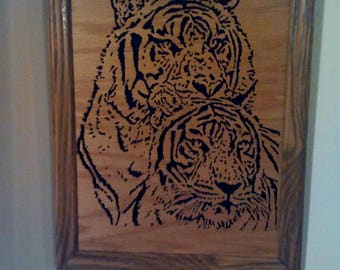 Scroll saw framed tiger picture