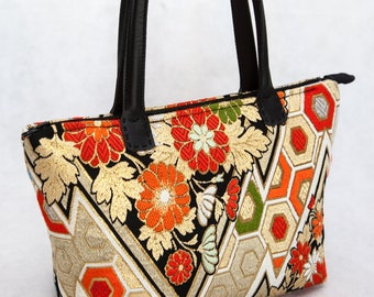 Free Shipping Worldwide! Vintage Japanese Silk Obi Tote Bag/ Shoulder Bag (Black and gold zig zag)