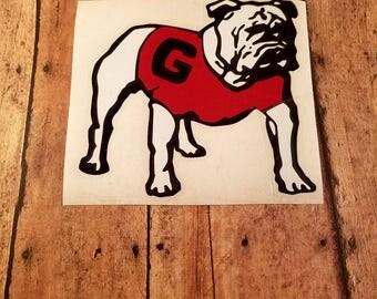 University of Georgia Bulldog Decal | Car Decal | Yeti Decal | Dawg Decal | GA Bulldogs | Laptop Decal | UGA Bulldog Decal | Red and Black |