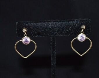 Gold earrings / 10K gold /  heart earrings / pink rhinestones / stud earrings / gold stud earrings / Valentine earrings / love earrings