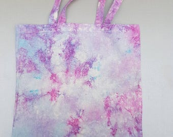 Tie dye pink, purple and blue cotton tote bag.