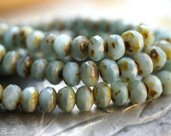 Laguna Blue, Rondelle Beads, Czech Beads, Beads, N1626