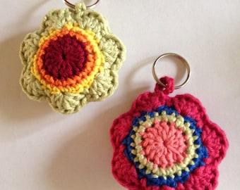 crochet bag charm/crochet key charm/ crochet flower shaped bag charm/ crochet flower shaped key charm/ hostess gift/stocking stuffer/