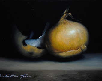 "Daily painting - ""ONION"" Sebastian Talar (oil painting, small still life painting, original painting, original art, daily painter)"