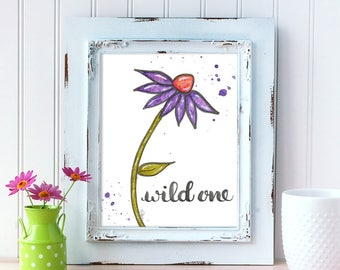 Wild One Art Print. Watercolor Daisy Print. Home Decor. 8x10 Wall Art. Mother's Day Gift. Gift for Best Friend. Gift for Mom. Gift for Her.