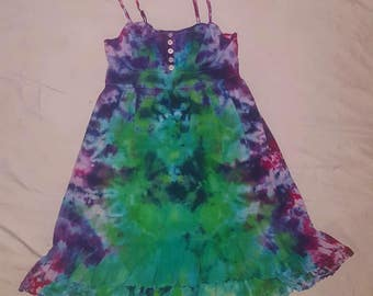 DISCOUNT XS Spaghetti Strap High/Low Flowy Summer Dress Psychedelic Earthy Green Blue Purple Pink Fairy Tie Dye Cotton Summer Dress