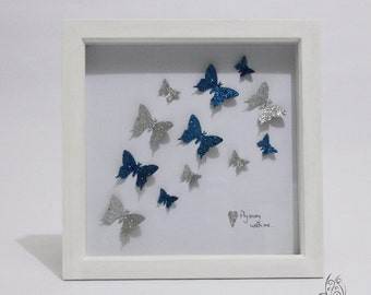 Butterfly Fly Away With Me Flutter Picture Frame White & Teal 9x9""
