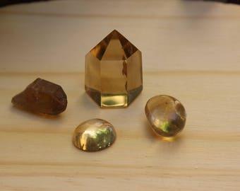 citrine from Madagascar- polished point - raw point - cabochon - tumblestone - set #1