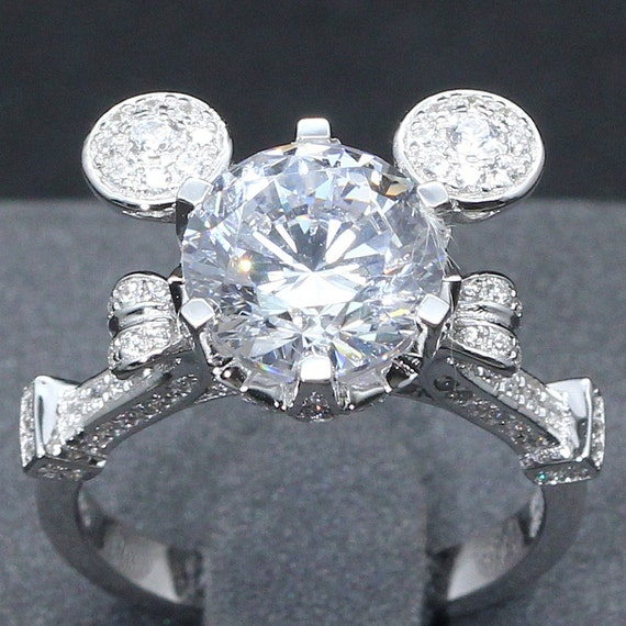 3 carat mickey mouse cinderella mashup pumpkin carriage fairy tale wedding engagement promise wedding ring disney - Mickey Mouse Wedding Ring