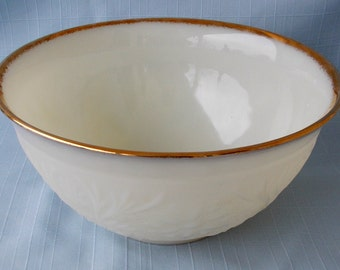 Vintage Anchor Hocking Fire King Milk Glass Punch Bowl, Sandwich Pattern