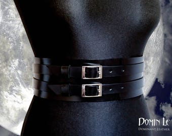 "Waist belt ""Moon"" of natural leather Wide Belt 
