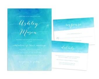 Watercolor Beach Wedding Invitation, Printable Wedding Invitation Suite, Beach Wedding Invite