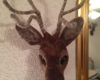 Needle felted Stag Head