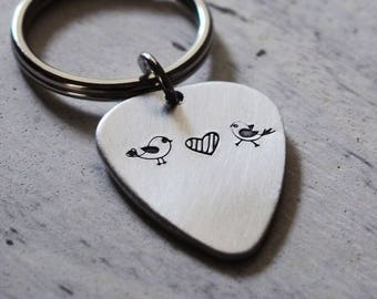 Guitar pick keychain, custom guitar pick, engraved guitar pick keyring, two loved birds falling in love, music lover gift, guitarist gift