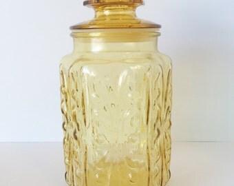 Vintage Canister, Vintage Canisters, Vintage Canister Set, Amber Glass, Kitchen Canister, Amber Cookie Jar, Vintage Cookie Jar, Wedding Gift