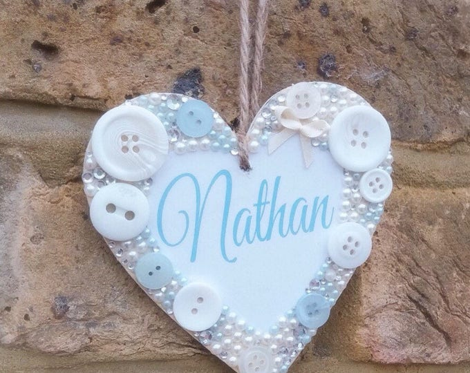 Personalised hanging heart plaque / sign | any message | Embellished wooden heart | Children's signs | New baby gift's | Any colour| plaque