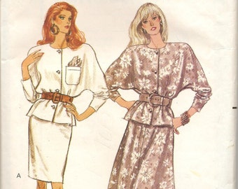 Vintage Butterick Sewing Pattern 6669 Loose Fitting Top Tapered Flared Skirt Size 12-16