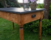 Antique Vintage Pine Country Farmhouse Kitchen Table FREE DELIVERY Writing Desk Side Table Black Top Handmade