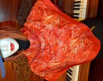 Vintage brick red abstract pattern scarf, Exclusive design scarf