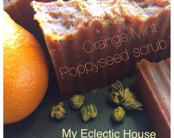 Orange Mint Scrub Bar~ Goat milk soap