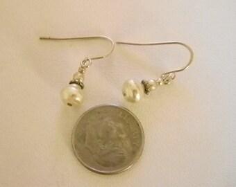 Small Dainty Faux Pearl Dangle Pierced Earrings