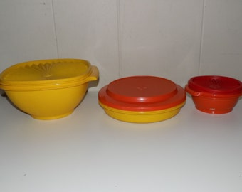 Collection of Vintage  Tupperware Harvest Color Assortment Servalier