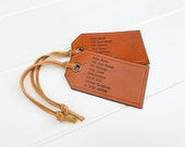 Personalised Leather Luggage Tags (pair of) Handmade Genuine Leather Luggage Tag Wanderlust Travel Gift
