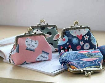 On Sale!Sewing Bag kit/Coin Bag/Metal frame kit/pre-cut & pre-ironed/Size:13*9*4cm/Pink/Green/dark blue/navy blue/bunny/cat/fish/cherry